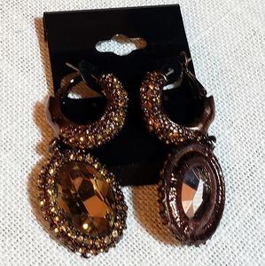 Dark brown crystal Earring / Ring set Ring size 7